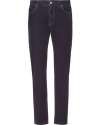 Мужские фиолетовые зауженные джинсы от Fendi