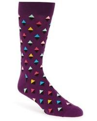 Фиолетовые носки с ромбами