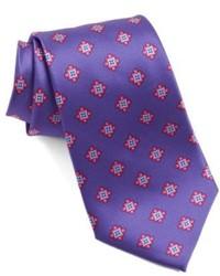 Фиолетовый галстук с принтом