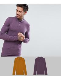 Мужской фиолетовый свитер с воротником поло от ASOS DESIGN