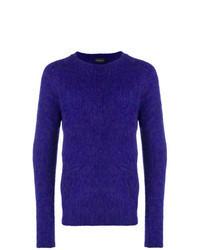 Фиолетовый свитер с круглым вырезом