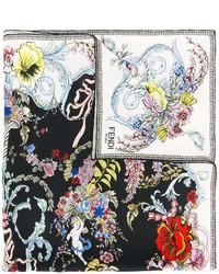 Женская черная бандана с цветочным принтом от Fendi