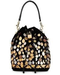 Черная бархатная большая сумка