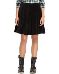 Черная бархатная мини-юбка