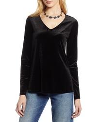 Черная бархатная футболка с длинным рукавом