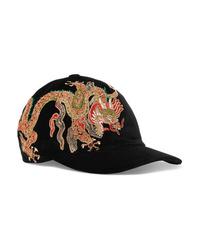 Женская черная бейсболка с вышивкой от Gucci