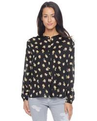 Черная блуза на пуговицах с цветочным принтом