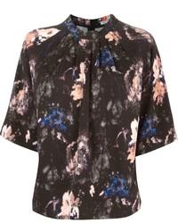 Черная блуза с коротким рукавом с принтом