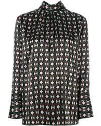 Черная блузка с геометрическим рисунком от Fendi