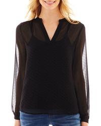 Черная блузка с длинным рукавом в горошек