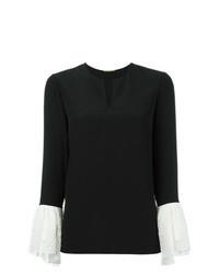Черная блузка с длинным рукавом с люверсами