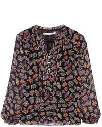 Черная блузка с длинным рукавом с принтом