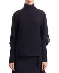 Черная блузка с длинным рукавом с рюшами