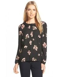 Черная блузка с длинным рукавом с цветочным принтом