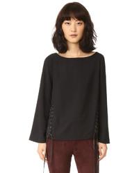 Черная блузка с длинным рукавом от Eleven Paris
