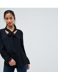 Черная блузка с длинным рукавом от John Zack Petite