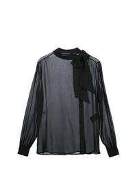 Черная блузка с длинным рукавом от Saint Laurent