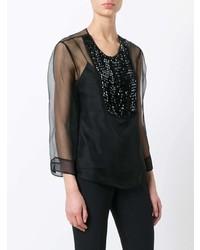 Черная блузка с длинным рукавом от Armani Collezioni