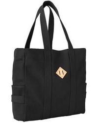Черная большая сумка из плотной ткани с принтом