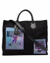 Мужская черная большая сумка из плотной ткани с принтом от Moschino