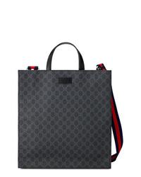 Мужская черная большая сумка из плотной ткани от Gucci