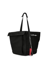 Мужская черная большая сумка из плотной ткани от Lanvin