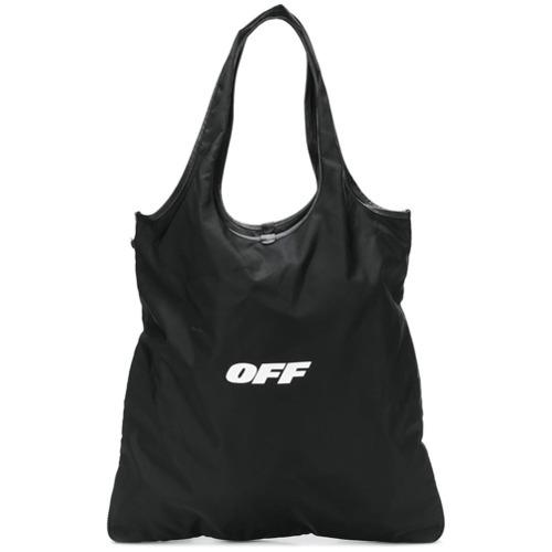 Мужская черная большая сумка из плотной ткани от Off-White