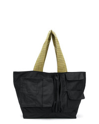 Мужская черная большая сумка из плотной ткани от Raf Simons