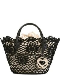 Черная большая сумка крючком