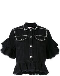 Женская черная джинсовая куртка с украшением от MSGM