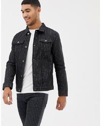 Мужская черная джинсовая куртка от Liquor N Poker