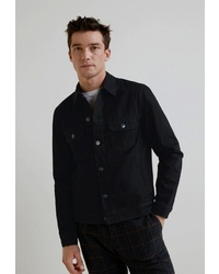Мужская черная джинсовая куртка от Mango Man