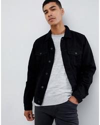 Мужская черная джинсовая куртка от New Look