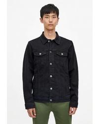 Мужская черная джинсовая куртка от Pull&Bear