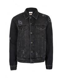 Мужская черная джинсовая куртка от Topman
