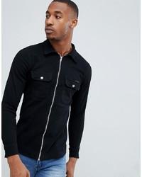 Мужская черная джинсовая рубашка от Liquor N Poker