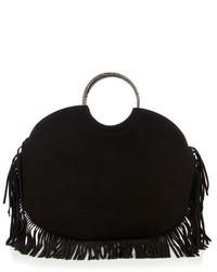 Черная замшевая большая сумка c бахромой