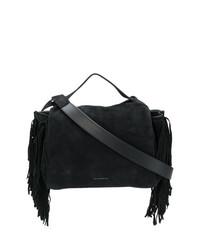 Женская черная замшевая большая сумка c бахромой от Elena Ghisellini