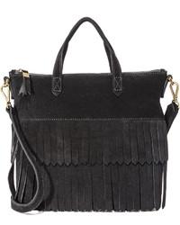 Женская черная замшевая большая сумка c бахромой от Madewell