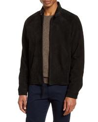 Черная замшевая куртка харрингтон