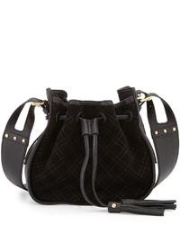 Черная замшевая стеганая сумка через плечо