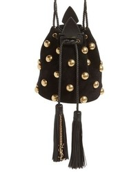 Черная замшевая сумка-мешок с шипами