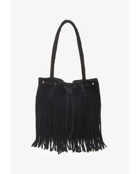 Черная замшевая сумка-мешок c бахромой