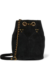 Черная замшевая сумка-мешок