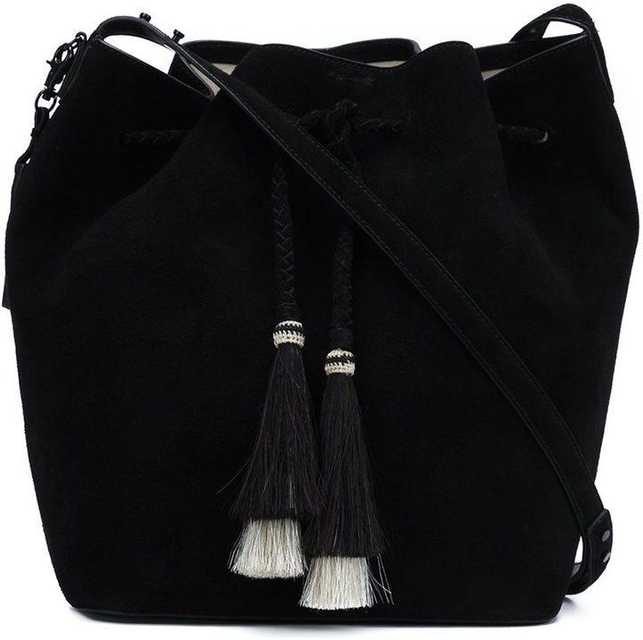 c1f4d9fec2ce ... замшевые сумки-мешки Черная замшевая сумка-мешок от Loeffler Randall