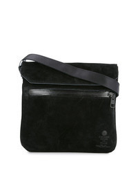 Черная замшевая сумка почтальона
