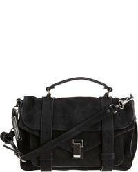 Черная замшевая сумка-саквояж