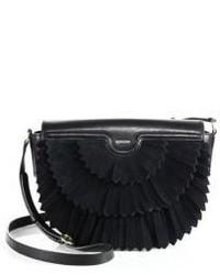 Женская черная замшевая сумка через плечо c бахромой от Agnona