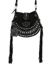 Женская черная замшевая сумка через плечо c бахромой от EL VAQUERO