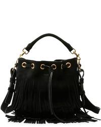 Женская черная замшевая сумка через плечо c бахромой от Saint Laurent